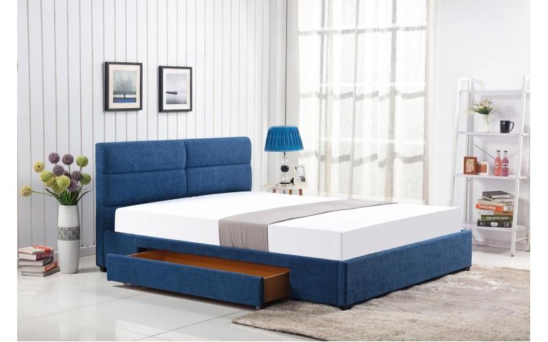 MERIDA - Łóżko 160 niebieski  z szufladami bez materaca
