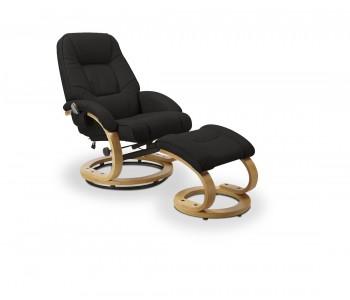 MATADOR - fotel wypoczynkowy czarny rozkładany z funkcją masażu i podgrzewania