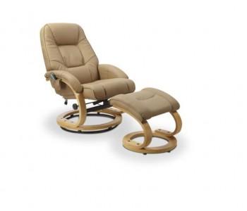 MATADOR - fotel wypoczynkowy beż rozkładany z funkcją masażu i podgrzewania