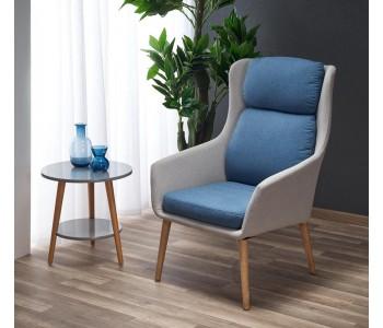 PURIO - fotel  jasny popiel - niebieski