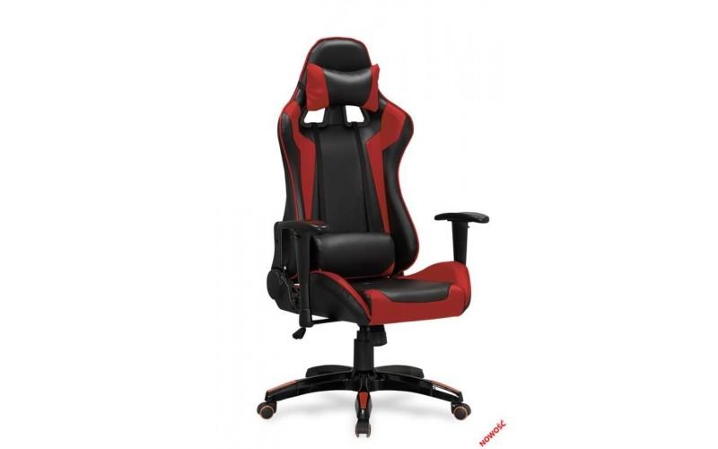 DEFENDER - fotel obrotowy gabinetowy czarno - czerwony