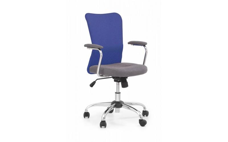 ANDY - fotel młodzieżowy obrotowy popielato-niebieski