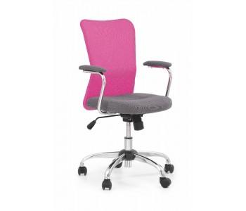 ANDY - fotel młodzieżowy obrotowy popielaty - różowy
