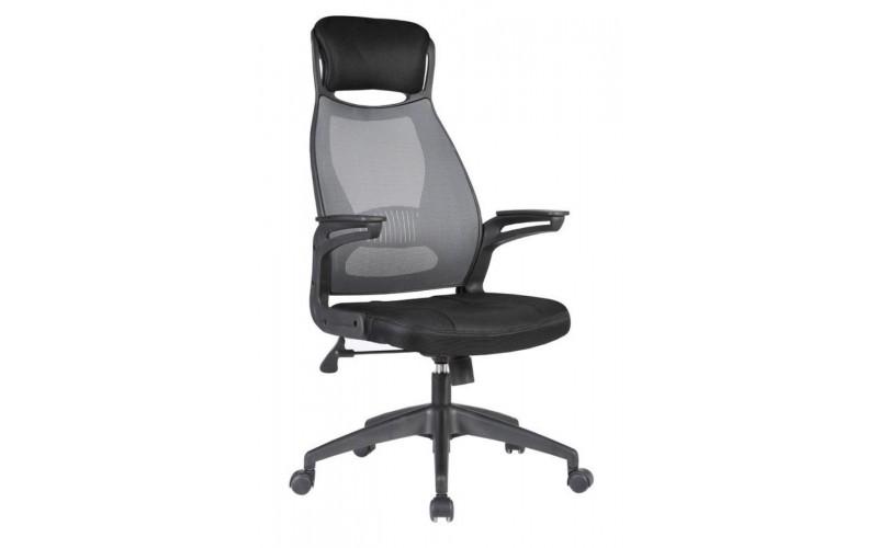 SOLARIS - fotel pracowniczy czarno-popielaty