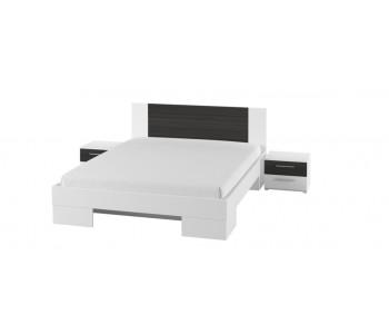 VERA - Łóżko 140  biały / czarny orzech bez materaca + stoliki nocne  (80)
