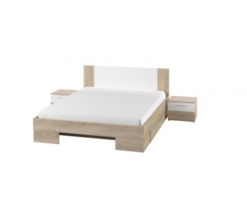 VERA - Łóżko 140  dąb sonoma / biały bez materaca + stoliki nocne  (80)