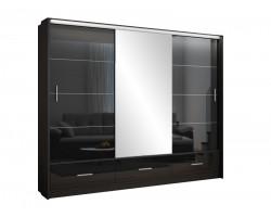 MARSYLIA CZARNA - Szafa przesuwna 255 x 225 3D z lustrem