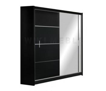 VISTA - Szafa przesuwna 150 x 215 2D z lustrem CZARNA