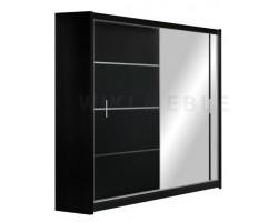 VISTA - Szafa przesuwna 180 x 215 2D z lustrem CZARNA