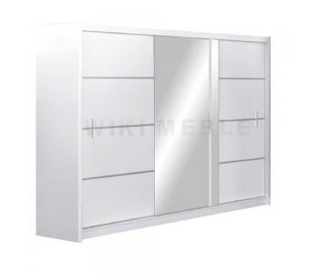 VISTA - Szafa przesuwna 250 x 215  3D z lustrem BIAŁA