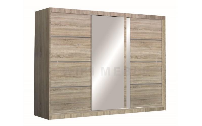 VISTA - Szafa przesuwna 250 x 215  3D z lustrem DĄB SONOMA